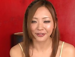 Lovely Japanese angel achieves hawt ejaculation from wild sex