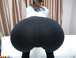 Step sister do squats and seduced step brother with yoga pants