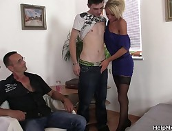 Youthful Czech blonde cuckolds old husband