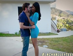 Dark-hued student Jenna Foxx takes a ride on hard cock